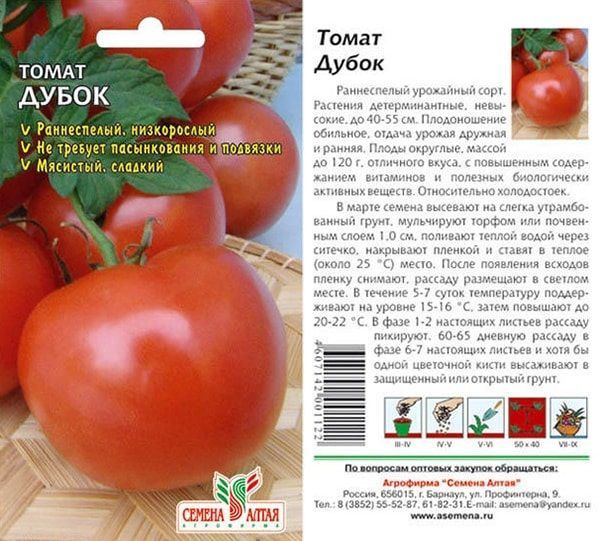 Дубок: описание сорта томата, характеристики помидоров, выращивание